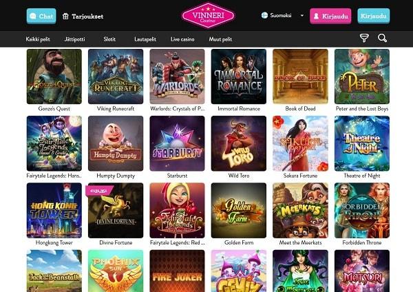 Vinneri Casinolta löydät kaikki nettikasinomaailman suosikkipelit