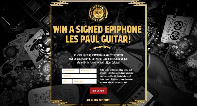 Voita Les Paul -sähkökitara ennakkorekisteröitymällä Metal Casinolle!