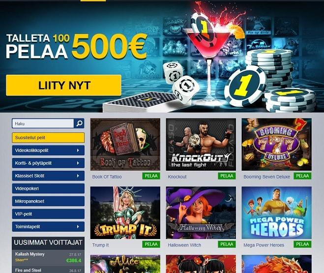 Ota 400% Casino1-bonus haltuun!