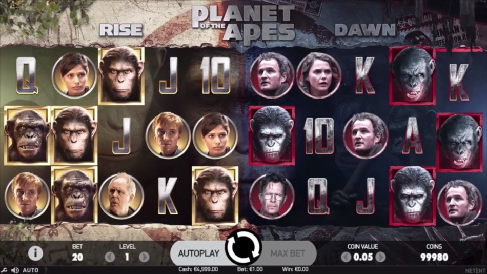 Play Net Entertainment's new Planet of the Apes slot game and grab Rise and Dawn bonuses!
