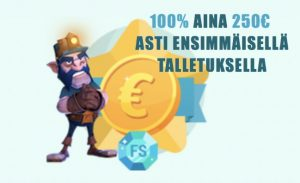 Spinia jakaa ensitalletuksen yhteydessä 250€ bonusrahaa.