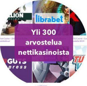 Sivustollamme yli 300 arvostelua kasinoista