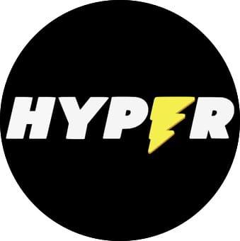 Hyper Casinon logo sisältää salaman