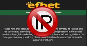 EfBet on blokannut suomalaiset pelaajat sivulta Veikkauksen pyynnöstä
