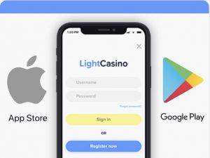 Lataa Light Casinon sovellus App Storesta tai Google Playstä.