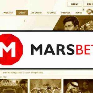 Marsbet logo seepiataustalla