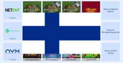 Simppeli Casino pelin tarjoajat ja suomen lippu